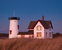 Dusk at Stage Harbor Light: Chatham, MA (Mike Blanchette) Tags: sunset usa lighthouse ma dusk capecod chatham stageharbor