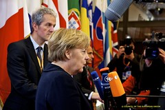 Angela Merkel, German Federal Chancellor, talks to the media at the doorsteps prior to the Informal dinner of the members of the European Council, Brussels, 8 December 2011 (European Council) Tags: germany europeanunion europeancouncil conseileuropenangelamerkel