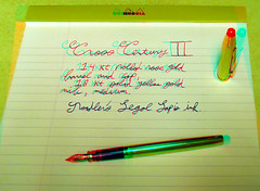 metal pen writing gold stereogram stereophotography 3d pretty cross anaglyph stereo fountainpen dubois stereoscopy yellowgold rosegold centuryii redcyan