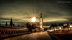 Life Passes By In The Blink Of An Eye (Explored 22nd Dec 2011) (Stephen Champness) Tags: bridge houses light sky people london clock night clouds big long exposure time ben parliament trail burst