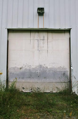 Garage door into fitness center