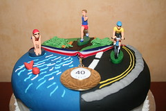 Triathlon Birthday Cake (fionakscakes) Tags: birthday men sport 40th football team women adult 21st 18th celebration christening 30th 50th essex 70th 20th 60th hornchurch romford