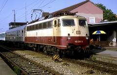 113 265  Weilheim  22.05.92 (w. + h. brutzer) Tags: analog train germany deutschland nikon 110 eisenbahn railway zug trains db locomotive lokomotive e10 weilheim elok eisenbahnen eloks webru