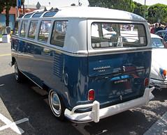 1967 Volkswagen 1500 Type 2 rear 3q (Ate Up With Motor) Tags: blue white bus cars vw volkswagen samba deluxe 1967 van 1500 kombi transporter t1 elsegundo microbus twotone type2 carshows 21window elsegundopoliceofficersassociation 14thannualmainstreetcarshow