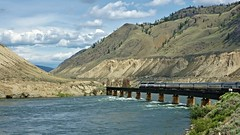 The Rocky Mountaineer crossing the Thompson River (rogersmithpix) Tags: trains kamloops canadianrockies thompsonriver rockymountaineer famoustrains