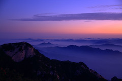 Mt. Taishan (Georg Geckert) Tags: china park travel blue summer orange mountain color colour nature night contrast sunrise nikon view sigma historic wanderlust sight prc  peoplesrepublic mainland shandong   complimentary  taishan pointofinterest d5000 complimentarycontrast
