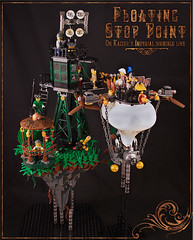 Kaizer's imperial floating stop point (captainsmog) Tags: bridge plants tower grass stairs lego tourists steam stop copper propellers brass gears diorama ladders semaphore dirigible steampunk
