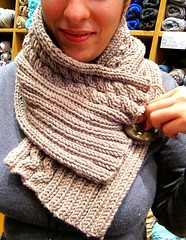 Elena is modeling her first knitting project (sifis) Tags: wool scarf canon knit merino athens yarn greece button kntting cowl sakalak