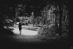 Away from the Dark! (Alex Akopyan) Tags: road old trees light summer woman film girl monochrome leaves zeiss forest dark back scary blurry shadows darkness fear tunnel run diagonal foliage trail curly chase behind effect vignette stalking limbo planar 5014 disballance