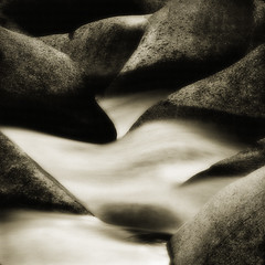 Rocks with a River (Rick Exstrom) Tags: california motion water sepia river landscape rocks happyvalley tuolumneriver rickexstrom
