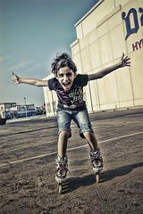 Skating 2 .. (-Meesho-) Tags: girl fun play expression redsea skating wheels skate short scream saudi fatima