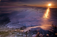 Evening Glow_DSC0669 (antelope reflection) Tags: winter lake utah salt d90 islandgreat sunsetantelope lakeicereflectioncolorssunraysnikon