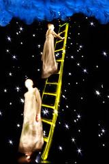 Jacobs Ladder (Elizabeth Gonzalez.) Tags: lightpainting clouds stars dream illumination surreal angels paintingwithlight bible flashlight ladder genesis jacobsladder genesis282