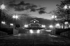6:41 on the levee (Mr. Greenjeans) Tags: morning blackandwhite bw sunrise landscape louisiana streetlights 28mm gazebo batonrouge pavillion levee canonef28135mmf3556isusm portallen lamplights