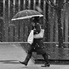 Brightened. (YOUANDMEORUS) Tags: winter blackandwhite woman snow japan lady umbrella square tokyo   2012  youandmeorus