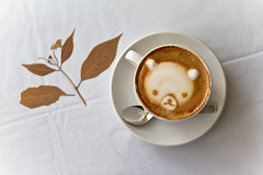 Kuma Coffee (Fesapo) Tags: bear brown cute art coffee japan composition canon prime restaurant leaf italian sigma indoor delicious 7d kawaii frothy espresso shimane presentation foamy kuma izumo rilakkuma 30mm coffeeart    formart ildelfino