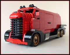 Batmobile: 2025! (Lino M) Tags: red black robin bike truck lego cab bat over engine 1940s batman build batmobile challenge lino coe lugnuts 2025