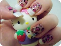 Oncinha + Francesinha Hello Kitty (x_Jess) Tags: hello art animal print nail kitty unha oncinha esmalte francesinha