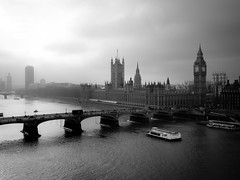 Westminster (London in Mono) [Explored] (jp3g) Tags: old bw london westminster fog thames river bigben panasonic g3