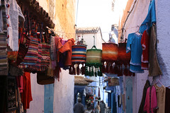 woven lampshades (Serenae) Tags: street city blue friends light vacation holiday streets colors sunshine walking colorful paint shadows painted exploring january morocco woven blankets chefchaouen 2012 5cardflickr