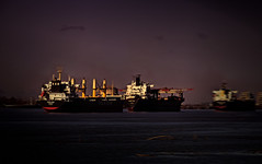The port of New Orleans waking up and preparing for another busy day (praline3001) Tags: sunrise landscape photography louisiana ship neworleans mississippiriver oiltanker portofneworleans ringexcellence dblringexcellence canonrebelt3i