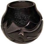 """<b>Black on Black Santa Clara Jar</b><br/> Madeline Naranjo """"Black on Black Santa Clara Jar"""" Earthenware, n.d. LFAC # 2003:12:04<a href=""""http://farm8.static.flickr.com/7022/6852265309_4762f7ef73_o.jpg"""" title=""""High res"""">∝</a>"""