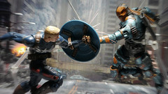 Captain America vs. Deathstroke (kevchan1103) Tags: 2 toys dc comic action steve figure batman legends wilson series rogers marvel captainamerica infinite collectibles avengers origins hasbro slade the arkham deathstroke wintersoldier