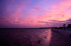 Pink Clouds (Emily Kistler) Tags: longexposure bridge pink sky beach water clouds tampa landscape outdoors evening bay sand nikon florida d750 ripples bluehour clearwater courtneycampbellcauseway