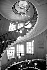 (Claire Hutton) Tags: city uk windows urban blackandwhite bw london monochrome architecture stairs contrast lens spiral lights mono store wideangle fisheye staircase department heals samyang8mm sonya6000