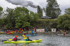 HQ No More Casualties with smoke stack landing at Tesoro Refinery  Break Free PNW 2016 photo by John Duffy 27123796975_9a40aaea03_o (Backbone Campaign) Tags: water justice washington energy kayak break action politics protest creative paddle shell free social demonstration oil change wa environment activism anacortes campaign pnw refinery climatechange climate tesoro artful backbone renewable refineries 2016 kayaktivist kayaktivism breakfreepnw