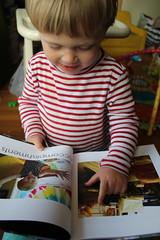 Reading vol. 2 (quinn.anya) Tags: book toddler sam photos pointing photoalbum