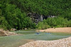 Canoes and Kayaks Approaching Roark Bluff on Buffalo River - Northwest Arkansas (danjdavis) Tags: cliff canoes kayaking arkansas canoeing bluff kayaks canoeists kayakers buffalonationalriver buffaloriver roarkbluff steelcreekcampground