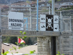 Be careful! (jamica1) Tags: canada warning skull bc okanagan columbia british penticton hazard crossbones 1953