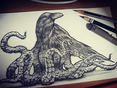 The Burdtopus (teproleum) Tags: bird art animal monster illustration weird sketch drawing fantasy horror octopus wtf bizarre