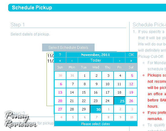 You can select multiple pick-up schedules