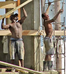 Arrgh !! (Legin_2009) Tags: shirtless people man black male men guy work outside outdoors person persona workers construction scaffolding lift pants gente boots african guys stretch dude personas cap topless mens males caribbean mann shorts persons dudes stretching hombre hommes homme hombres mec homens bluecollar lifting люди mecs mannes 男子 男性 אנשים الرجال scafflod पुरुषों