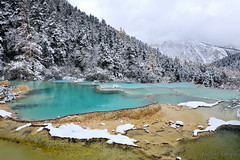 Dragon Scales (nawapa) Tags: china travel winter snow pool yellow river landscape pond dragon view scenic historic songpan sichuan huanglong calcite 2011 nawapa
