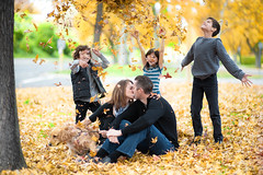 Kissing under the Chaos (Extra Medium) Tags: family dog fall leaves yellow kids children mom kissing dad husband jeans wife denim familyphoto bigtrouble westlakevillage familysession venturacountyfamilyphotographer