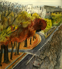 Commonwealth Avenue, going west (Marcia Milner-Brage) Tags: autumn boston watercolor brushpen urbanlandscape commonwealthavenue