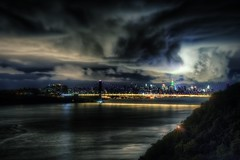 George Washington Bridge / New York City on 10/03/11 (mudpig) Tags: nyc newyorkcity longexposure bridge pink cloud newyork reflection skyline night river geotagged highway manhattan esb hudsonriver empirestatebuilding hudson gothamist georgewashington breastcancer hdr gwb georgewashingtonbridge breastcancerawarenessmonth henryhudson freedomtower mudpig worldtradecenter1 stevekelley stevenkelley