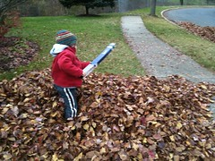 Dominic with his leaf blower