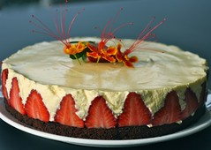 Grand Marnier white chocolate mousse cake with strawberries (honey drizzle) Tags: orange chocolate strawberries valrhona syrup sponge whitechocolate genoise grandmarnier moussecake