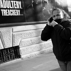 Secrets, Lies? (canonsnapper) Tags: blackandwhite monochrome candid streetphotography monotone mobilephone bandw gf1 lumixgf1 panasonicgf1
