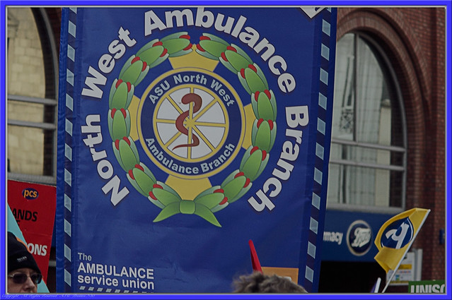 Preston #strike #n30 North West Ambulance Branch - Ambulance Service Union Banner : Pensions Protest March Fishergate :