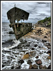 Woody Point wreck. (HDR) (agphoto100) Tags: sea water boat sand rust rocks ship fuji rusty brisbane shipwreck redcliffe hdr noisereduction woodypoint gayundah s8000fd redynamix