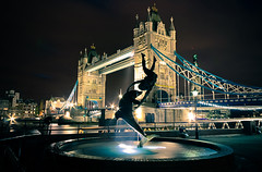 Dancing in the Dark (MARK-SPOKES.COM) Tags: uk longexposure bridge light england london fountain statue skyline night towerbridge canon dark lights published cityscape unitedkingdom britain cityhall dolphin landmark icon southbank nighttime buckinghampalace londres olympics iconic britian greenwhich towerhill 2012 london2012 davidwynne 40d girlwithadolphin theshard canon40d TGAM:photodesk=landmarks2012