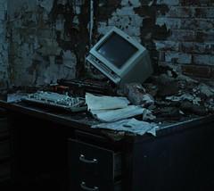 Messy Desk (Buckeye04) Tags: old ohio plant abandoned dark allison office industrial factory desk decay rope creepy xenia exploration dayton urbex hooven