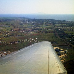 Over Entebbe. Lake Victoria is at the top of the photo.