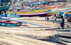 Boats Of India (thedot_ru) Tags: travel india beach port geotagged boat canon20d 2006 shore kanyakumari