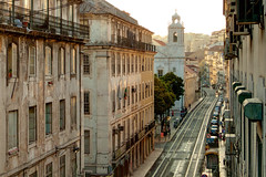 Tracks into the sunset (Rui Nuns) Tags: city sunset cidade portugal buildings evening lisboa lisbon tracks tram ruina derelict prdios olissipo fujifilms6500 ruinunes